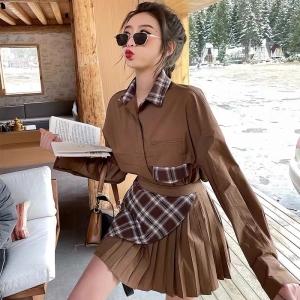 YF23205# 秋冬新款格子拼接衬衫+不规则百褶裙两件套女独特 服装批发女装直播货源