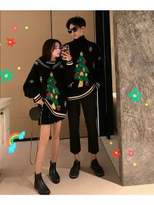 YF20602# 情侣装秋冬新款套头圆领圣诞卡通高领毛衣爆款外穿 女装批发服饰直播货源