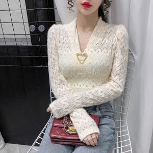 YF20775# 冬季新款V领蕾丝时尚百搭打底上衣女衬衫 女装批发服饰直播货源