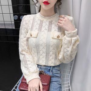 YF20776# 冬季新款蕾丝上衣女衬衫 女装批发服饰直播货源