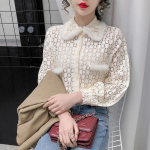 YF20778# 冬季新款百搭打底时尚蕾丝上衣女衬衫潮 女装批发服饰直播货源