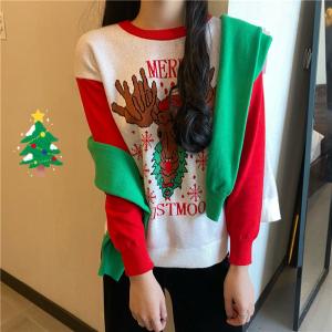 YF21950# 圣诞节麋鹿圆领套头宽松雪花长袖针织衫