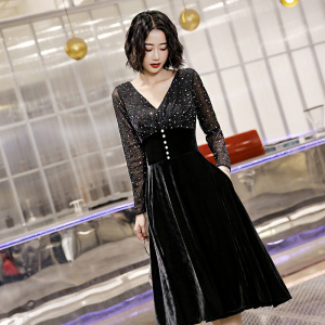 YF21936# 小晚礼服女宴会气质高端名媛高级质感平时可穿黑色洋装长袖连衣裙