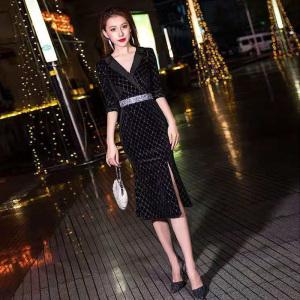 YF21937# 小晚礼服新款黑色中长名媛平时可穿气质晚宴宴会高端连衣裙女