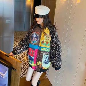 YF20991# 欧洲站冬季新款印花洋气亮片短外套女宽松加厚撞色棉衣夹克潮 服装批发女装批发