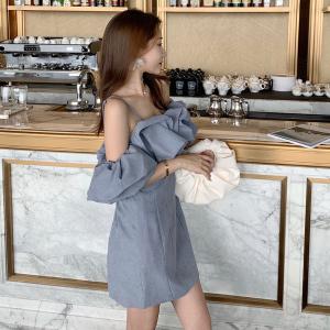 YF21925# 一字肩吊带御姐连衣裙夏款收腰显瘦气质轻熟风包臀礼服裙