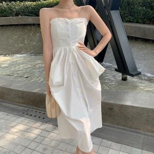 YF21927# 法式设计感绑带露肩气质衬衫抹胸收腰白色连衣裙女