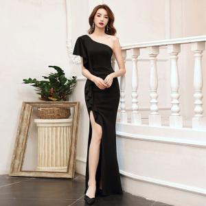 YF21938# 黑色晚礼服裙女新款高端宴会高级质感气质单肩性感修身连衣裙