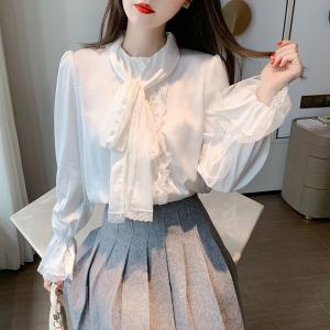 YF21693# 春季新款设计感小众蕾丝花边飘带领喇叭袖纯白色衬衫女 服装批发服饰直播货源