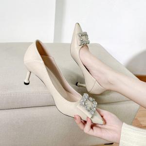 X-24862# 早春款时尚百搭尖头单鞋尺码34-40码 鞋子批发女鞋货源