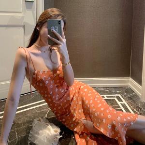 YF21929# 渡假欧美复古ins修身显瘦橘色开叉仙女雪纺吊带长裙连衣裙