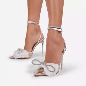 X-24982# 新款透明PVC尖头高跟蝴蝶结水钻装饰水晶跟高跟女单鞋女40 鞋子批发女鞋货源