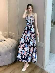 YF22455# 气质花朵印花小V领露背吊带上衣+高腰荷叶裙摆半身长裙两件套装女 服装批发女装直播货源