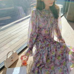 YF22961# 早春四季可穿的zimmer风度假连衣裙印花雪纺迷夜翎雀裙 女装批发服装货源