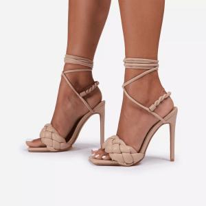 X-24820# 新款欧美明星同款编织系带组合高跟凉鞋35-42码两色 鞋子批发女鞋货源