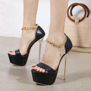 X-24822# 亚马逊高跟鞋新款欧美时尚流行夜店高跟女凉鞋链条装饰有34 鞋子批发女鞋货源
