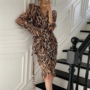 YF24988# chic性感豹纹长款连衣裙 服装批发女装批发