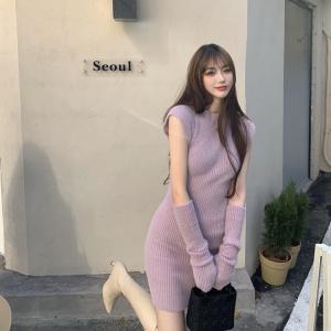 YF24533# 韩版秋冬季修身性感纯欲风仿貂毛袖套立领包臀连衣裙女 服装批发女装直播货源