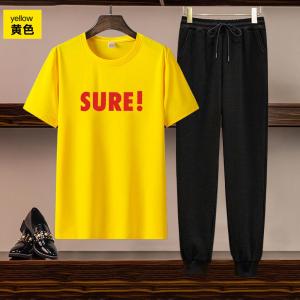 CX5052# 最便宜服装批发 欧美女装跨境亚马逊独立站货源休闲运动短袖印花T恤长裤两件套装