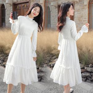 YF24277# 新款长袖连衣裙法式超仙仙女裙加绒加厚打底连衣裙收腰气质长裙