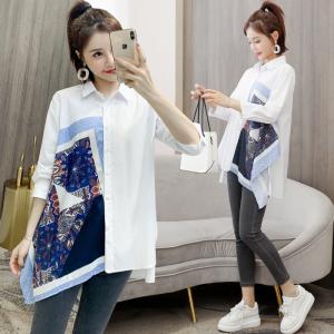 YF24506# 春装新款韩版百搭宽松印花拼接中长款衬衫女上衣春 服装批发女装直播货源