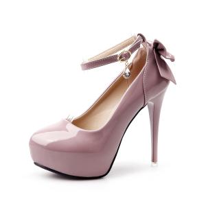 X-25000# 细高跟防水台漆皮蝴蝶结一字带单鞋 鞋子批发女鞋货源