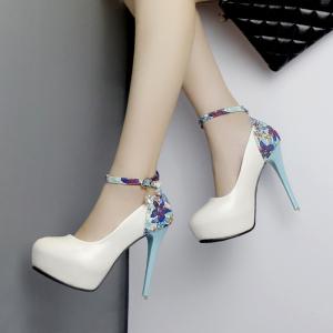 X-25001# 超高跟防水台一字带花布圆头单鞋 鞋子批发女鞋货源