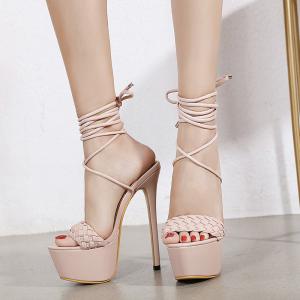 X-24984# 新款防水台凉鞋编织系带鞋超高跟公主女鞋34-40码 鞋子批发女鞋货源