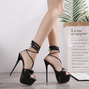 X-24985# 走秀新品超高跟细跟水台细带高跟凉鞋两色入34-40码 鞋子批发女鞋货源