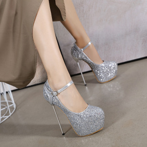 X-25097# 超细铁跟驾到!新款闪亮亮片高跟鞋16CM单鞋两穿女士34-40 女鞋批发鞋子货源