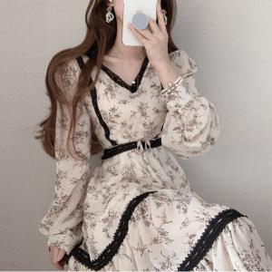 YF24987# chic洋气v领雪纺连衣裙 服装批发女装批发
