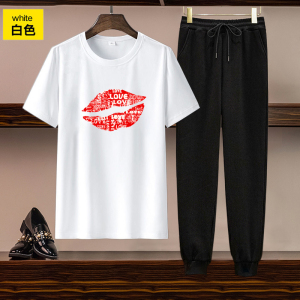 CX5057# 最便宜服装批发 欧美女装跨境亚马逊独立站货源休闲套装印花短袖T恤长裤两件套