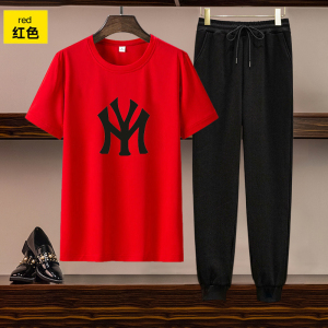 CX5059# 最便宜服装批发 欧美女装跨境亚马逊独立站货源休闲套装印花短袖T恤长裤两件套
