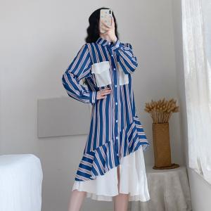YF25530# 春季新款大码女装胖mm洋气条纹长袖连衣裙宽松显瘦 服装批发女装货源