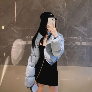 YF27302# 蓝色短裤棉服女冬季新款韩版宽松修身百搭保暖长袖棉袄面包服 服装批发女装货源