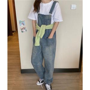 YF25993# 韩版宽松显瘦复古网红百搭牛仔背带裤 女装批发服装货源