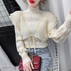 YF27174# 春装新款半高领百褶荷叶边系带纯色气质蕾丝小衫上衣 女装批发服装货源