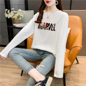CX5041# 最便宜服装批发 莫代尔棉春秋长袖T恤女韩版宽松显瘦中长款打底衫上衣