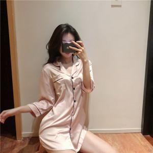 YF40424# 实拍性感宽松丝绸中袖开衫中长款衬衫睡裙实价