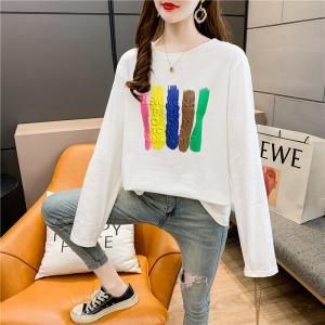 CX5047# 最便宜服装批发 莫代尔棉春秋长袖T恤女韩版宽松显瘦中长款打底衫上衣