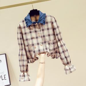 YF29303# 春季法式双排扣衬衫女宽松长袖衬衣设计感小众上衣 服装批发女装货源