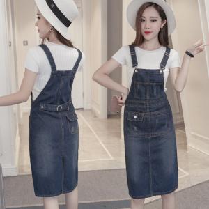 YF26678# 胖mm新款直筒韩版宽松牛仔背带长裙大码女装连衣裙 女装批发服装批发货源
