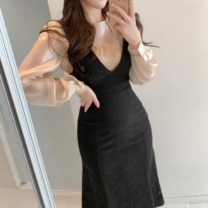 YF27391# 春装新款打底衣+包臀背心裙套装 服装批发女装货源