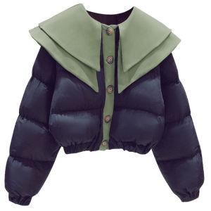 YF27305# 冬装新款女装上衣减龄拼接娃娃领短款保暖棉服外套开衫宽松潮 服装批发女装货源