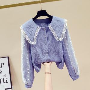 YF29304# 春季法式气质衬衫女设计感小众洋气蕾丝娃娃领上衣 服装批发女装货源