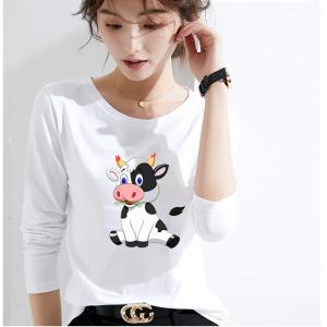 CX5051# 最便宜服装批发 好质量莫代尔棉春季圆领纯色长袖T恤女打底衫