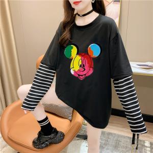 CX5077# 最便宜服装批发 新款好质量混纺条纹拼接假两件长袖T恤七彩米奇宽松上衣