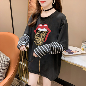 CX5079# 最便宜服装批发 新款好质量混纺舌头印花条纹拼接假两件长袖T恤宽松上衣