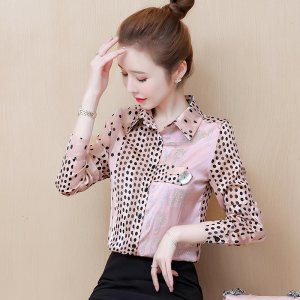 YF29293# 春装新款时尚拼色重工烫钻韩版长袖衬衣小衫女 服装批发女装货源