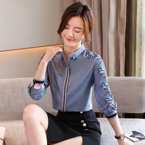YF43705# 真丝女士衬衫设计感小众春季新款复古印花气质长袖上衣